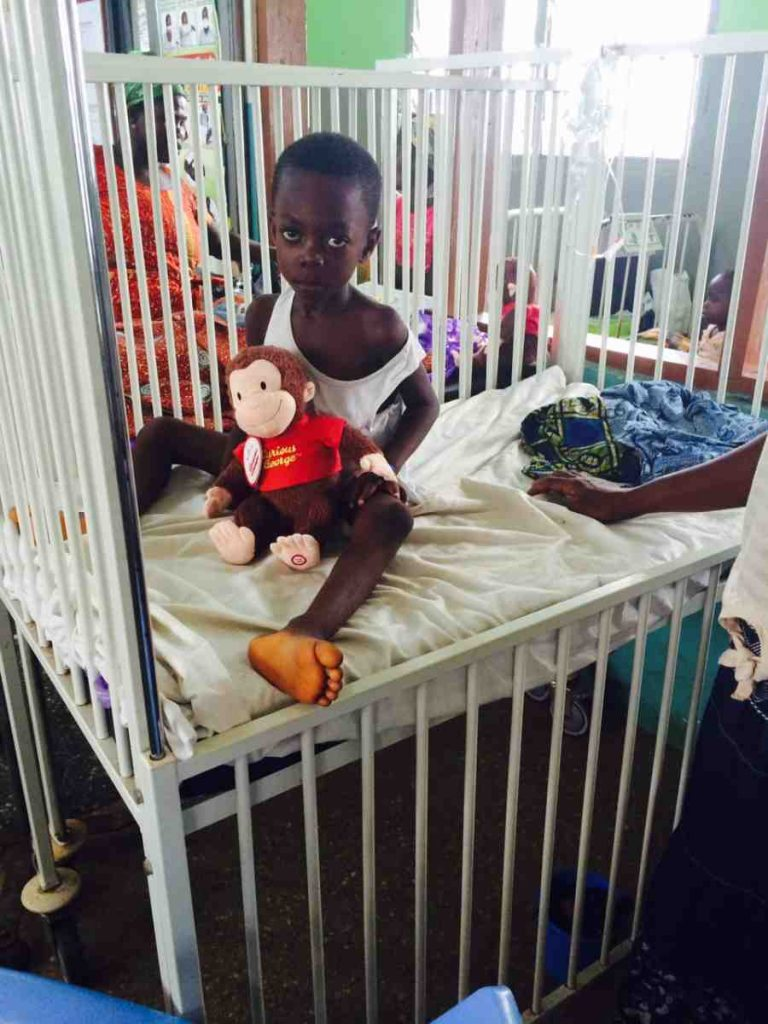 A Curious George for a pediatric patient in Enchi Govt Hospital in Ghana