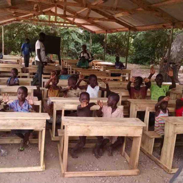 desks for children at gabikpa island school Ghana