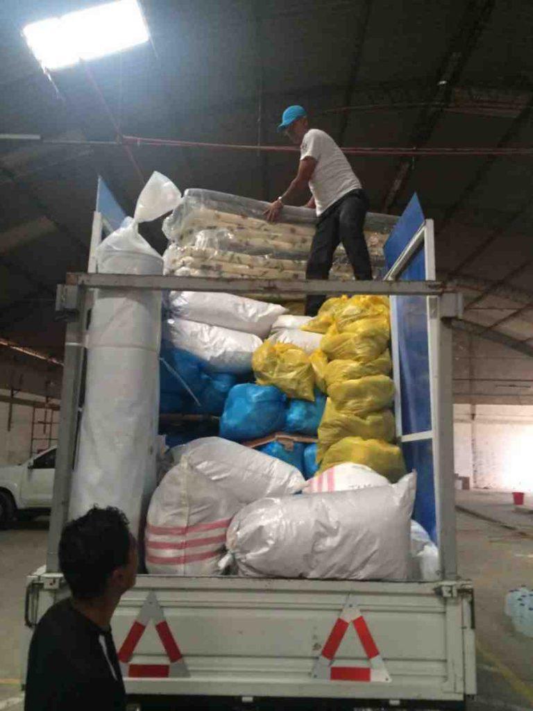 Ecuador earthquake supplies truck