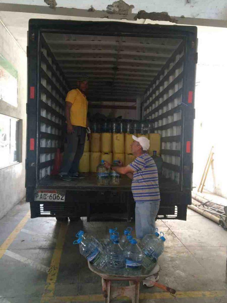 Ecuador earthquake relief truck