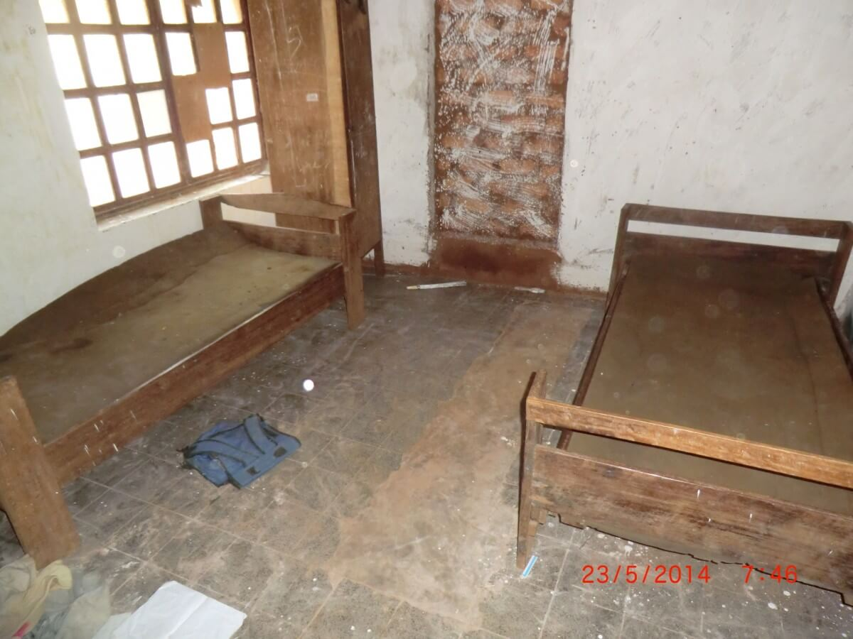 damaged bedroom in DR Congo orphanage