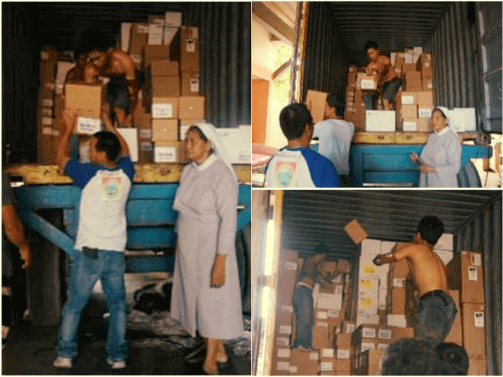Shipping medical supplies in the Phillipines
