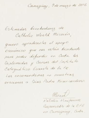 Letter from Natalia