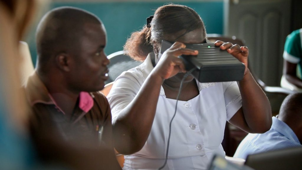 Taking an Eye Exam at the Enchi Clinic