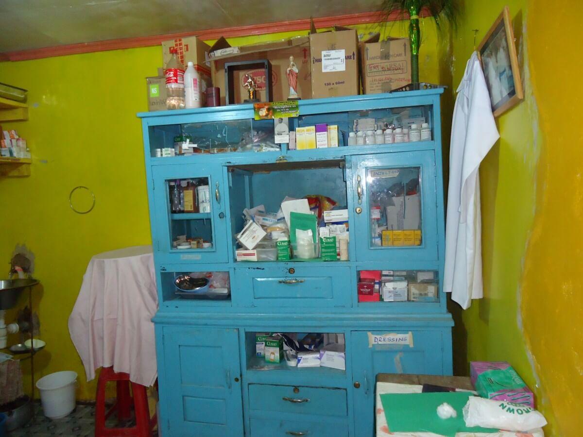 Medical cabinet in free medical clinic for poor Kenyans