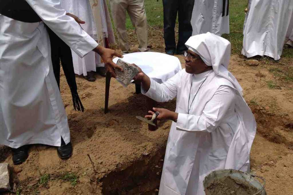 Breaking ground on the new convent