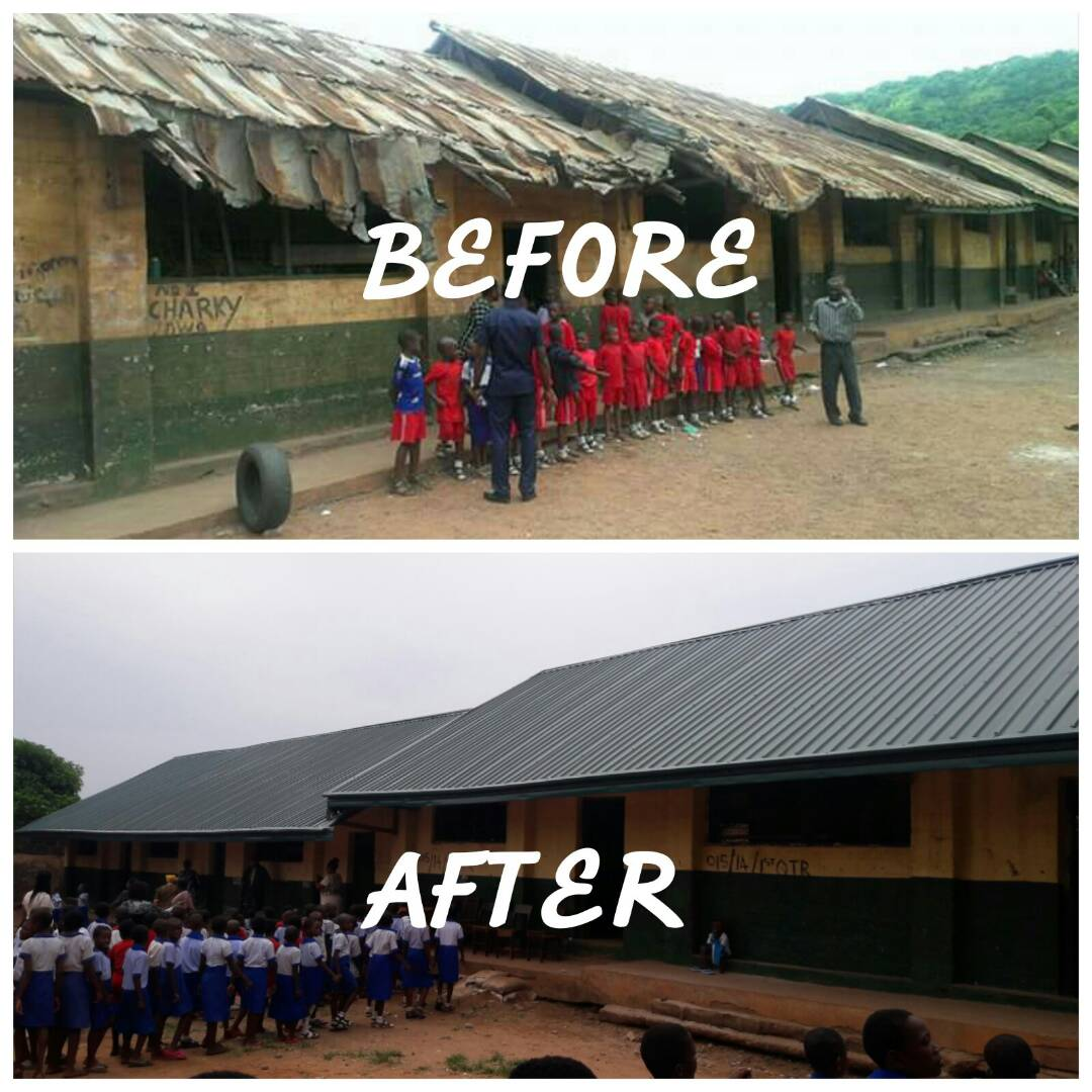 Before and After of Broadrick Street Primary School's roof