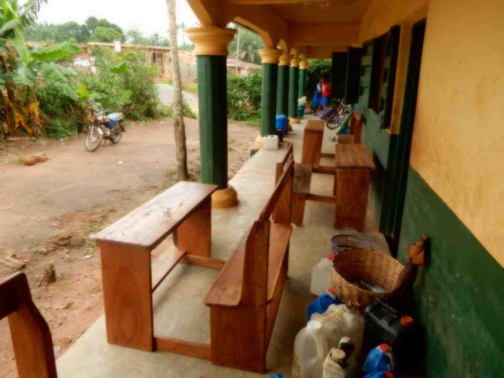 Desks for School brought by Catholic Missionary