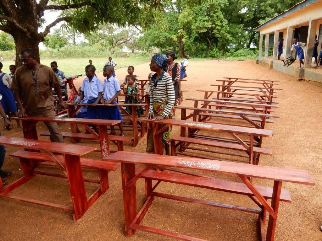Desks for Nigerian school supplied by Catholic Missionaries