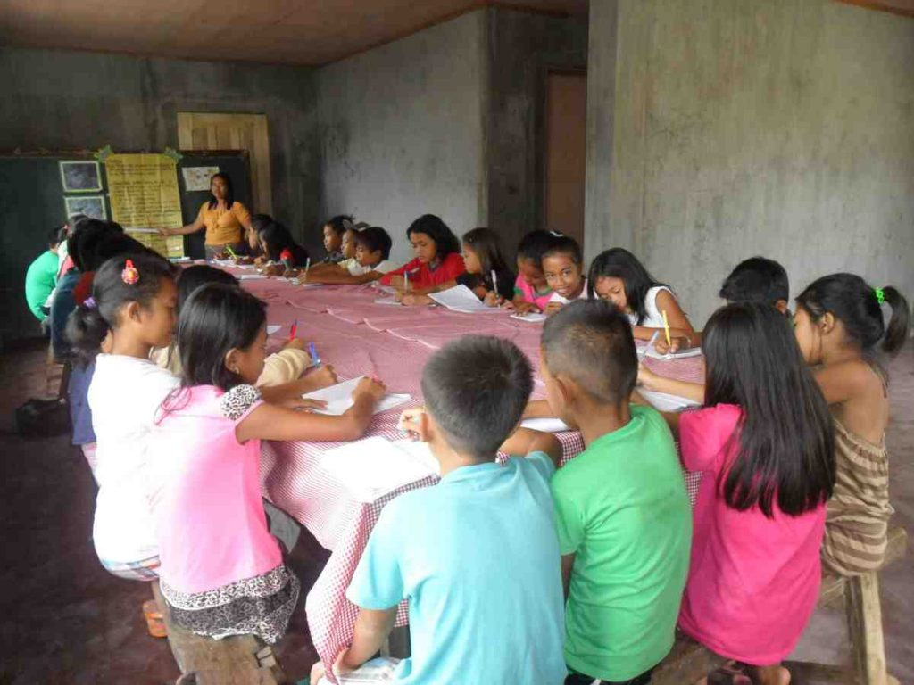 Lonoy students learning inside their new classroom - Philippines