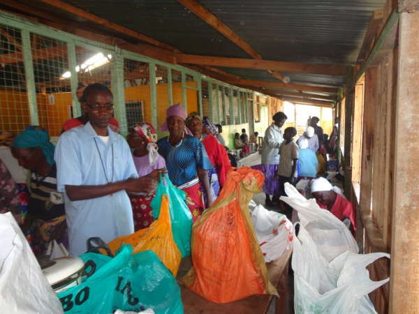 Elderly members of the community come to the food line - Kenya