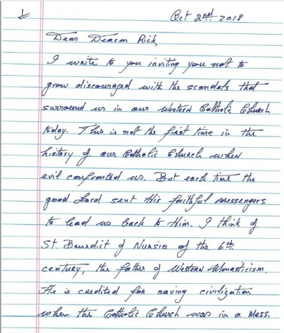 Page 1 of Msgr. Hugh Marren's letter to Deacon Rick Medina