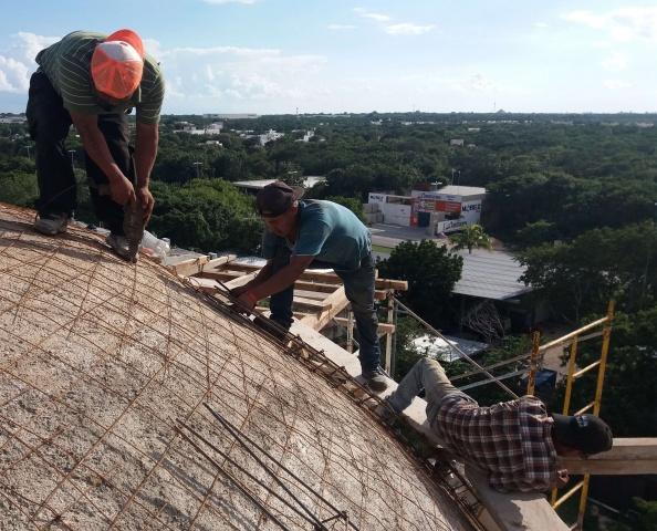 Playa del Carmen, Mexico - construction on the dome of Corpus Christi parish