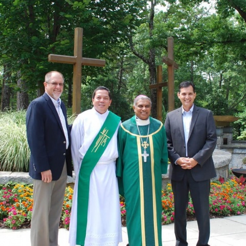 Mass with Bishop Perera - Bishop Harry after mass with Deacon Rick Medina, and CWM board members Oscar Tanaka and Nick Donnelly