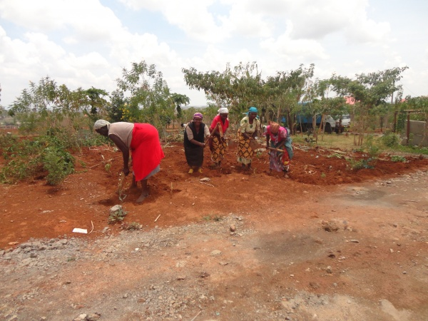 Locals tilling the brothers property to build a garden - Kenya