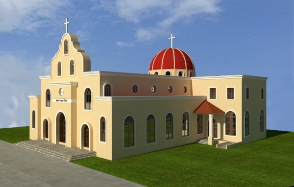 Virtual model of the exterior of Corpus Christi in Playa del Carmen, Mexico
