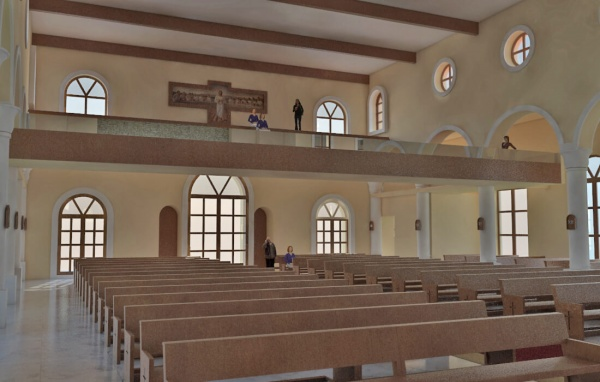 Virtual model of interior of Corpus Christi in Playa del Carmen. Here you can see the rear of the church and the balcony.