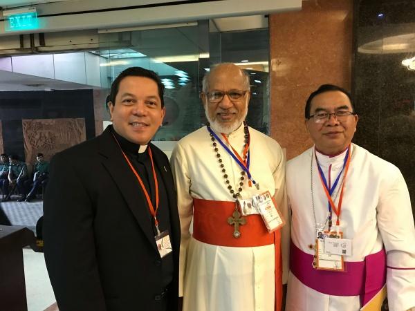 Bangladesh - Deacon Rick pictured with Bishop Victor Lyngdoh, Bishop of Jowai, Meghalaya, India and Cardinal Alencherry of the Syro-Malabar Catholic Church, Kerala, India