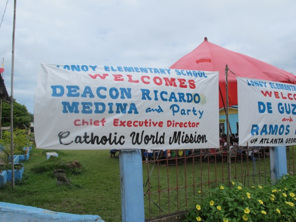 A welcome banner to Catholic World Mission\'s Executive Director Deacon Rick Medina - Philippines