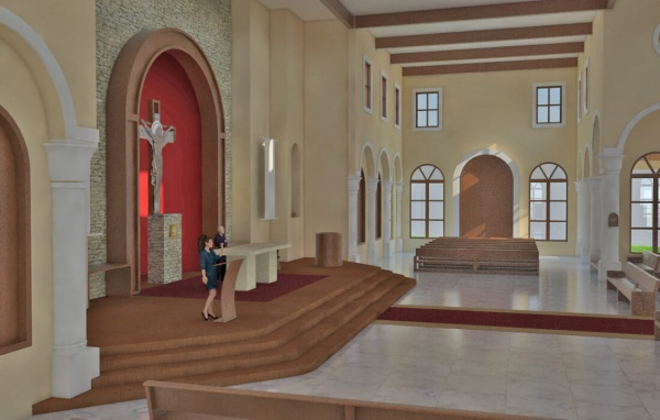 Virtual model of interior of Corpus Christi in Playa del Carmen. Another view of the altar and ambo.