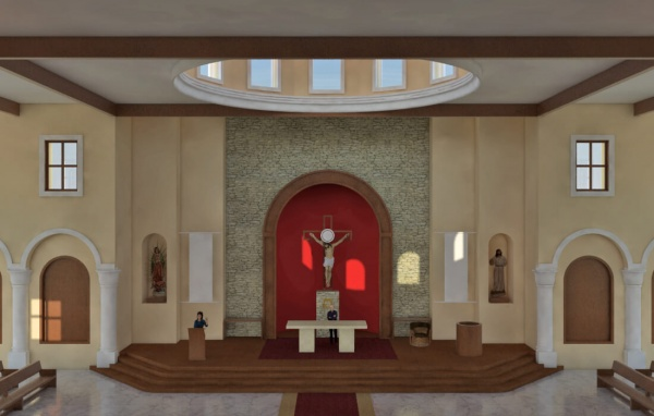 Virtual model of interior of Corpus Christi in Playa del Carmen. Visible here is the view of the altar from the balcony, as well as the inside of the dome.