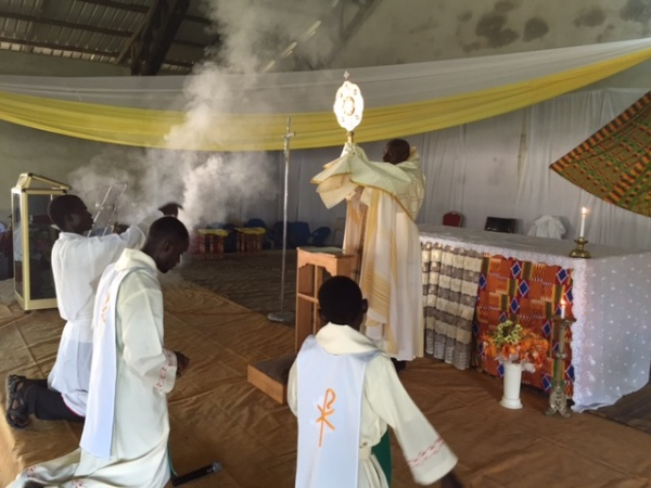 A new monstrance is used at Immaculate Conception parish in Enchi, Ghana, 2014