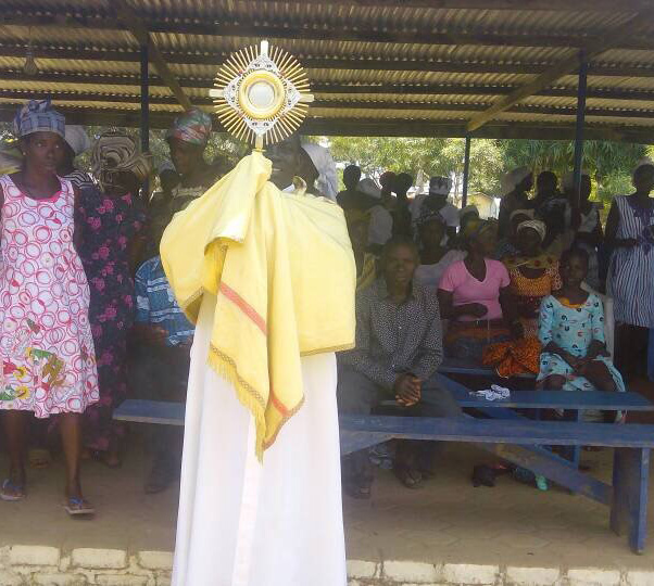 Fr. Anthony Eshun of Ghana carries the Blessed Sacrament as the faithful pray and celebrate the dedication of a new shrine to Our Lady of Lourdes in Takoradi, Ghana