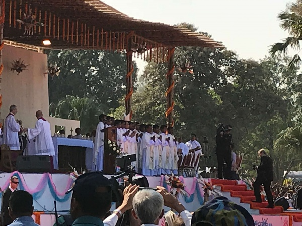 Bangladesh - the pavilion with the altar; here, Bangladesh\'s newly ordained priests line up before the recessional