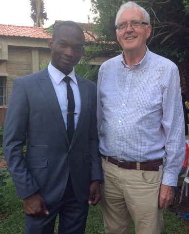 Fr. Frank McGrath, SMA, with a young African seminarian