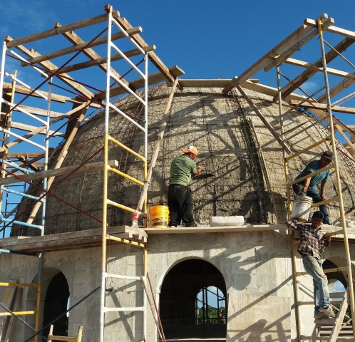 Playa del Carmen, Mexico - construction on the dome of Corpus Christi parish; scaffolding is visible here