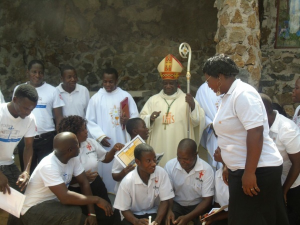 Archbishop Thomas Luke Msusa with young people - Malawi