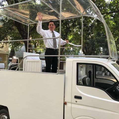 Bangladesh - Deacon Rick in the Popemobile