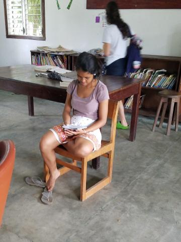 Middle & upper grade students attending class inside - Honduras