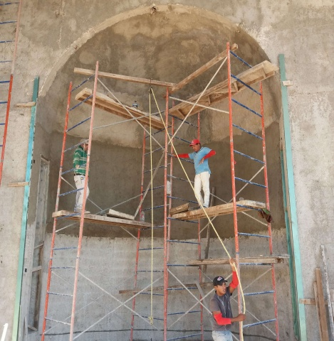 Playa del Carmen, Mexico - construction on Corpus Christi parish