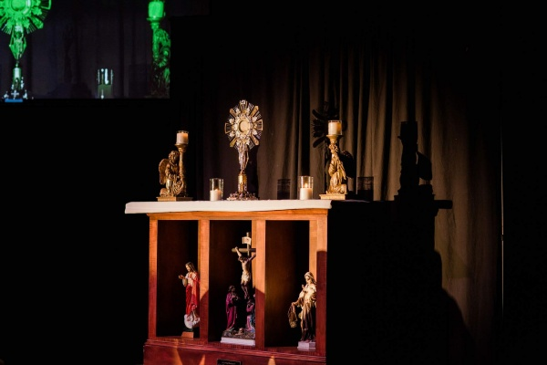 The Blessed Sacrament held by the monstrance donated by Catholic World Mission