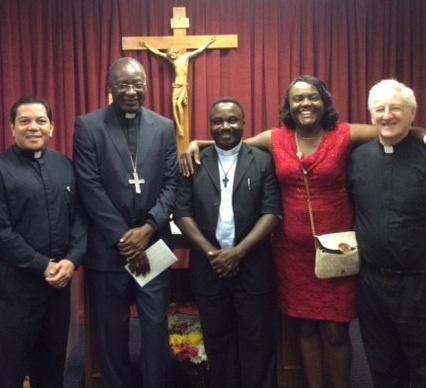 Bishop Celestin visits Atlanta! He\\'s pictured here with Deacon Rick Medina, Fr. Donatien, Ide Maka, and Msgr. Marren of All Saints Catholic Church.