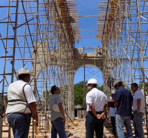 Playa del Carmen, Mexico - construction on Corpus Christi parish while architects meet