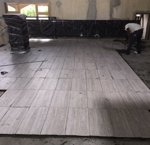 Laying tile - April 2018