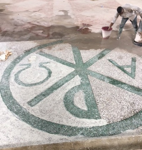 Working on the terrazzo tile - April 2018