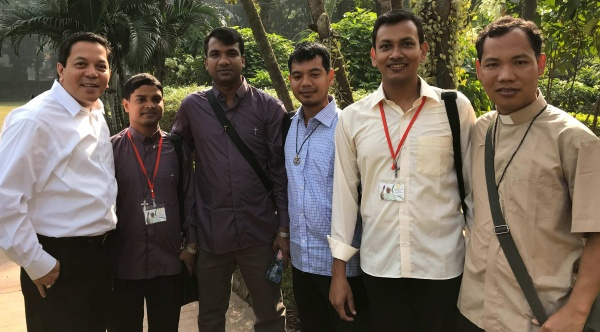 Bangladesh - Deacon Rick (far left) pictured with several seminarians moments before they were ordained to the priesthood by Pope Francis