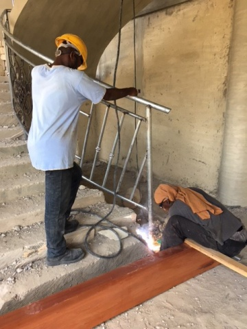 Ghana - crews install new railings, February 2018