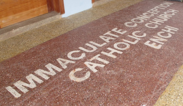New entrance proclaiming you\'ve arrived at Immaculate Conception Catholic Church in Enchi, Ghana - Deacon Rick\'s trip - June 2018