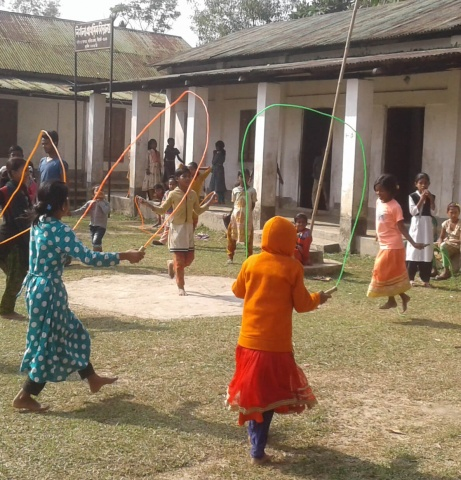 Bangladesh - schoolgirls playing with jump ropes during recess