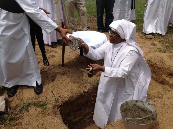 Most Reverend Harold Anthony Perera blessing the site of the future convent - Sri Lanka