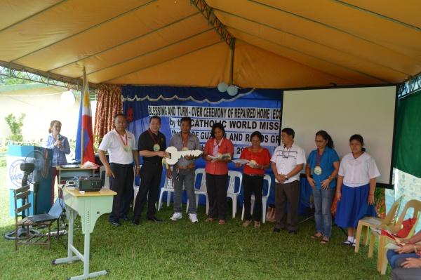 Executive Director Deacon Rick Medina at the Turning Over the Keys ceremony at Lonoy Elementary - Philippines