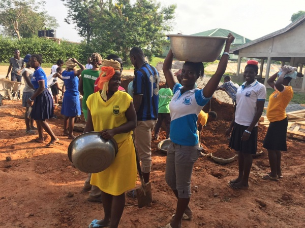 Ghana - construction update, January 2017; building this church is a community affair!