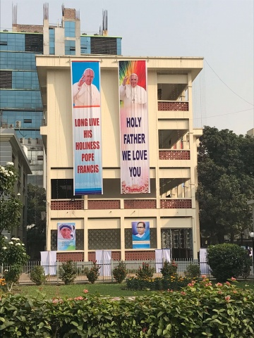 Bangladesh - banners hung throughout Dhaka welcoming Pope Francis