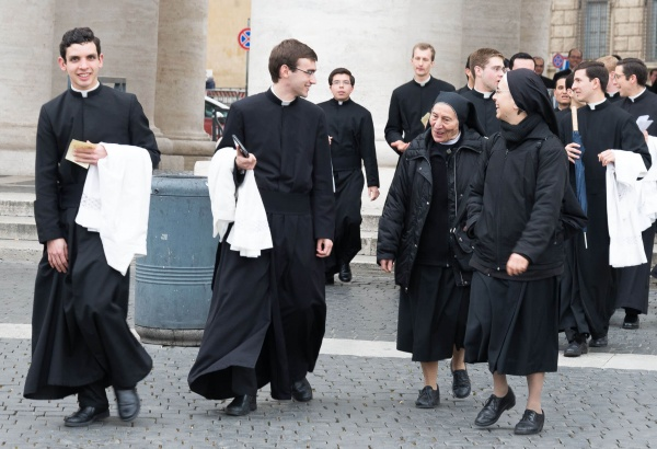 Legionaries of Christ brothers with religious sisters in Rome, Italy