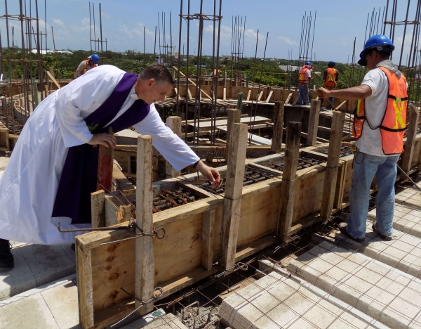 Playa del Carmen, Mexico - Fr. James blessing the construction thus far