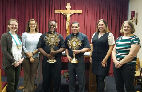 Catholic World Mission staff with Fr. Eugen; L-R: Carrie Miller, Stephanie Lange, Fr. Eugen, Dcn. Rick, Andrea Larker, and Beth Keller